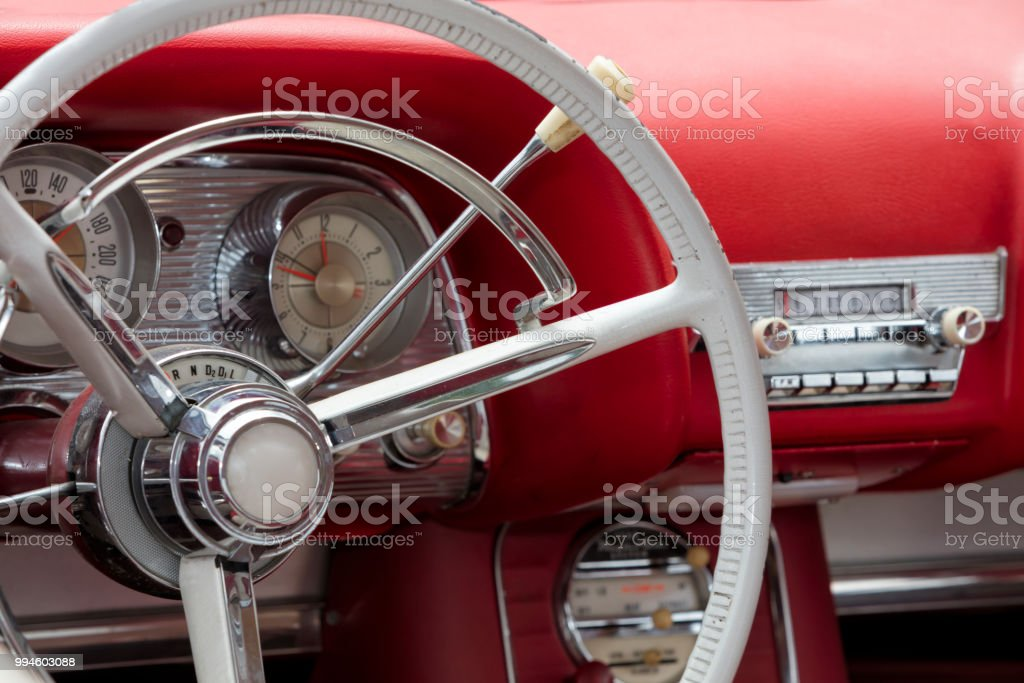 Red Vintage Car Interior Stock Photo More Pictures Of 1950 1959
