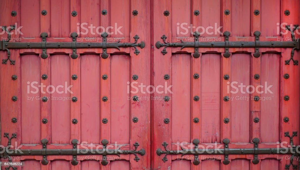 Red vintage door background stock photo