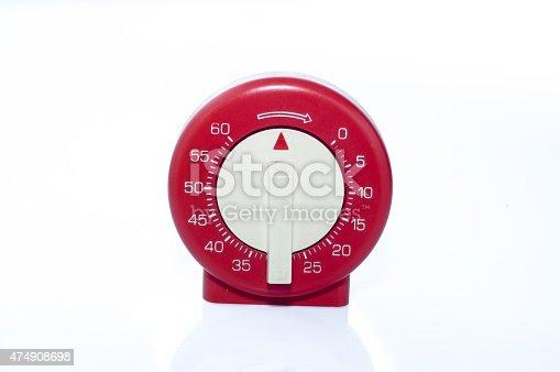 1054812046 istock photo Red, vintage kitchen timer on white background 474908698