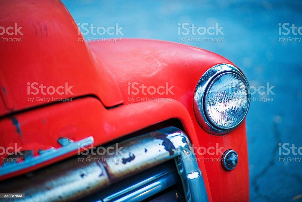 Red Oldtimer Pickup Closeup stock photo