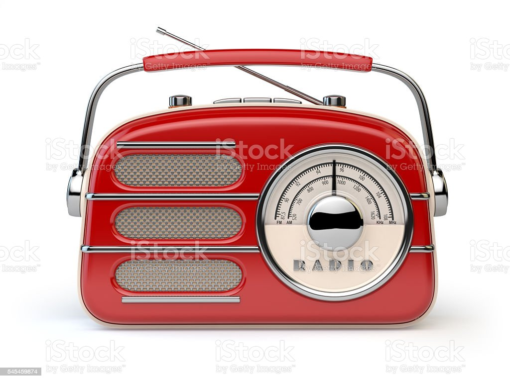 Red vintage retro radio receiver isolated on white. stock photo