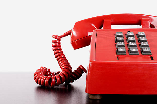 Red Vintage Telephone, Copy Sppace stock photo