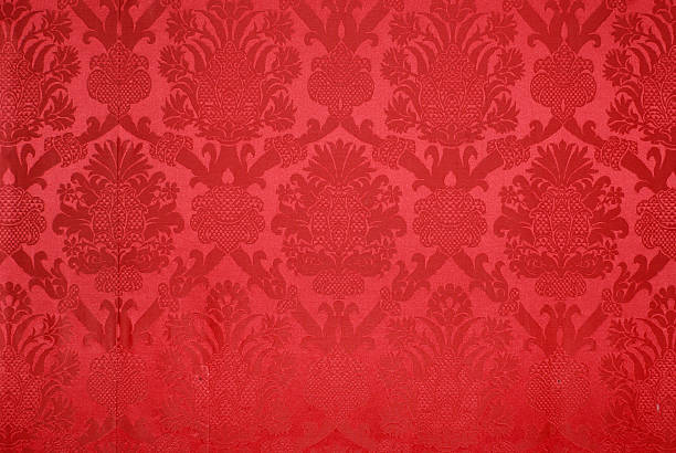 red vintage wallpaper background texture - velvet stock pictures, royalty-free photos & images