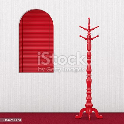 Red Vintage Wooden Coat Rack near Red Window extreme closeup. 3d Rendering