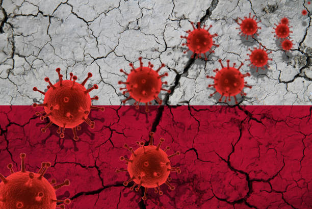 rode viruscellen, pandemische influenzavirus epidemische besmetting, coronavirus, aziatisch griepconcept, tegen de achtergrond van een gebarsten vlag van polen - polen stockfoto's en -beelden