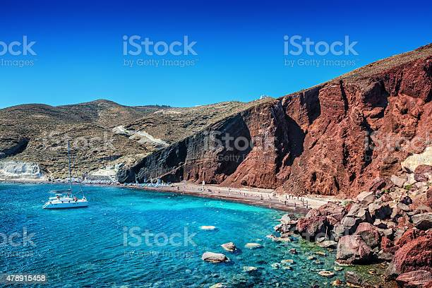 Photo of Red Volcanic Beach with Turquoise Water on Santorini, Greece