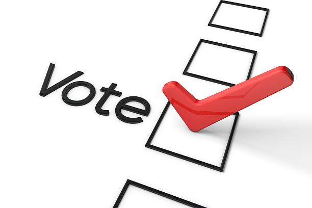 red vote tick box - vote sign stock photos and pictures
