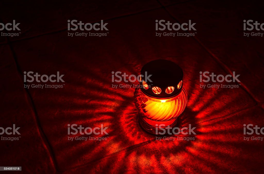 Red votive candle stock photo
