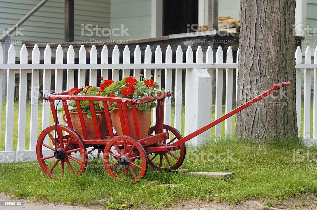 Vagón rojo y flores foto de stock libre de derechos