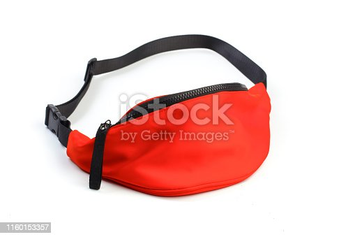 red waist pouch isolated on white background. - Image