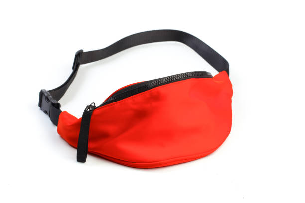 red waist pouch isolated on white background. - image - waist bag stock photos and pictures