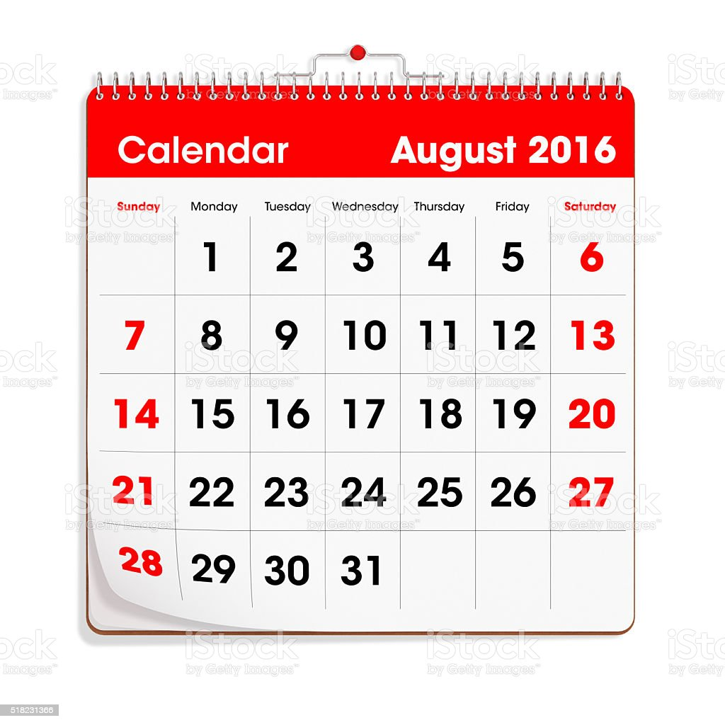 Red Wal Calendar - August 2016 stock photo