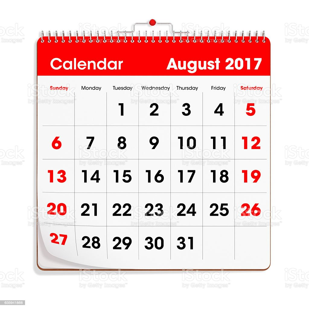 Red Wal Calendar - August 2017 - foto de stock