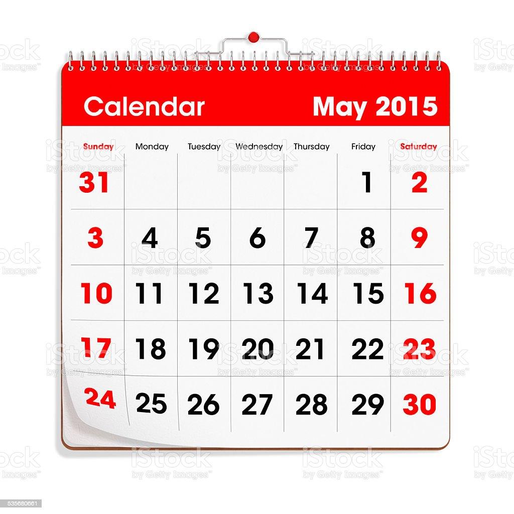 Red Wal Calendar - May 2015 stock photo