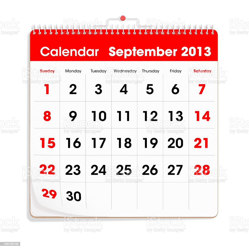 Red Wal Calendar - September 2013 royalty-free stock photo