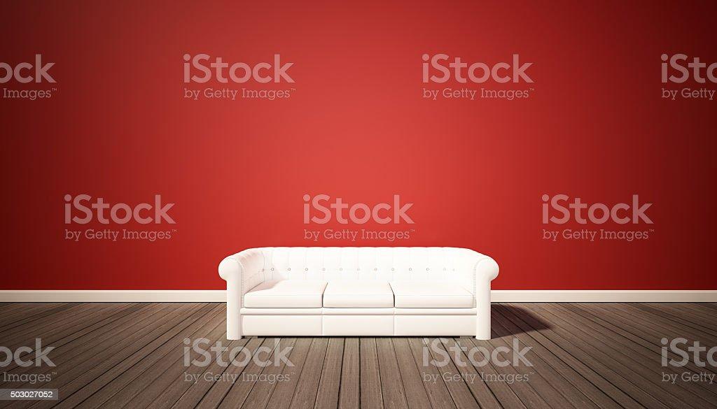 Pavimento Rosso E Bianco : Rosso di mattoni e pavimento in legno scuro con divano bianco