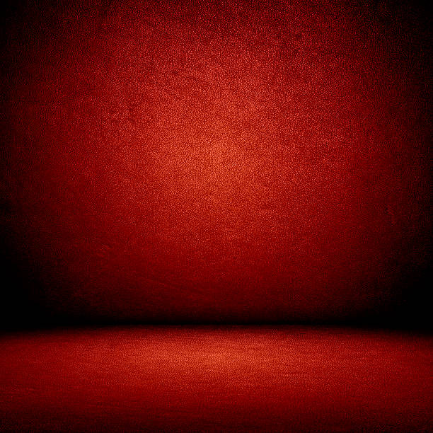 Red wall and floor interior stock photo