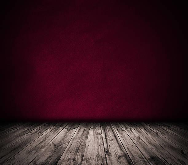 Rojo de pared y de piso de madera interior de fondo - foto de stock