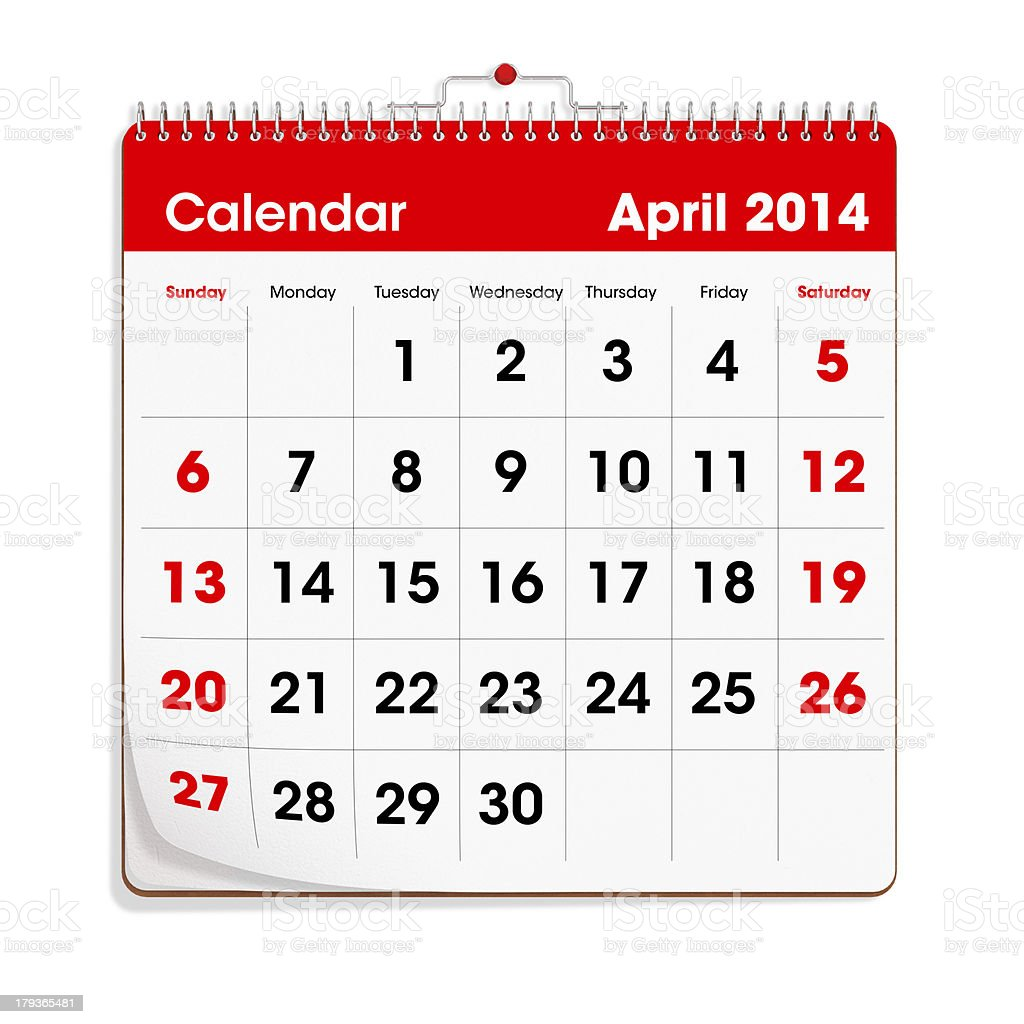 Red Wall Calendar - April 2014 royalty-free stock photo