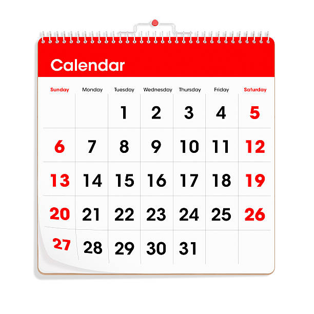 """Red Wall Calendar """"A generic wall calendar, isolated on a white background."""" generic description stock pictures, royalty-free photos & images"""