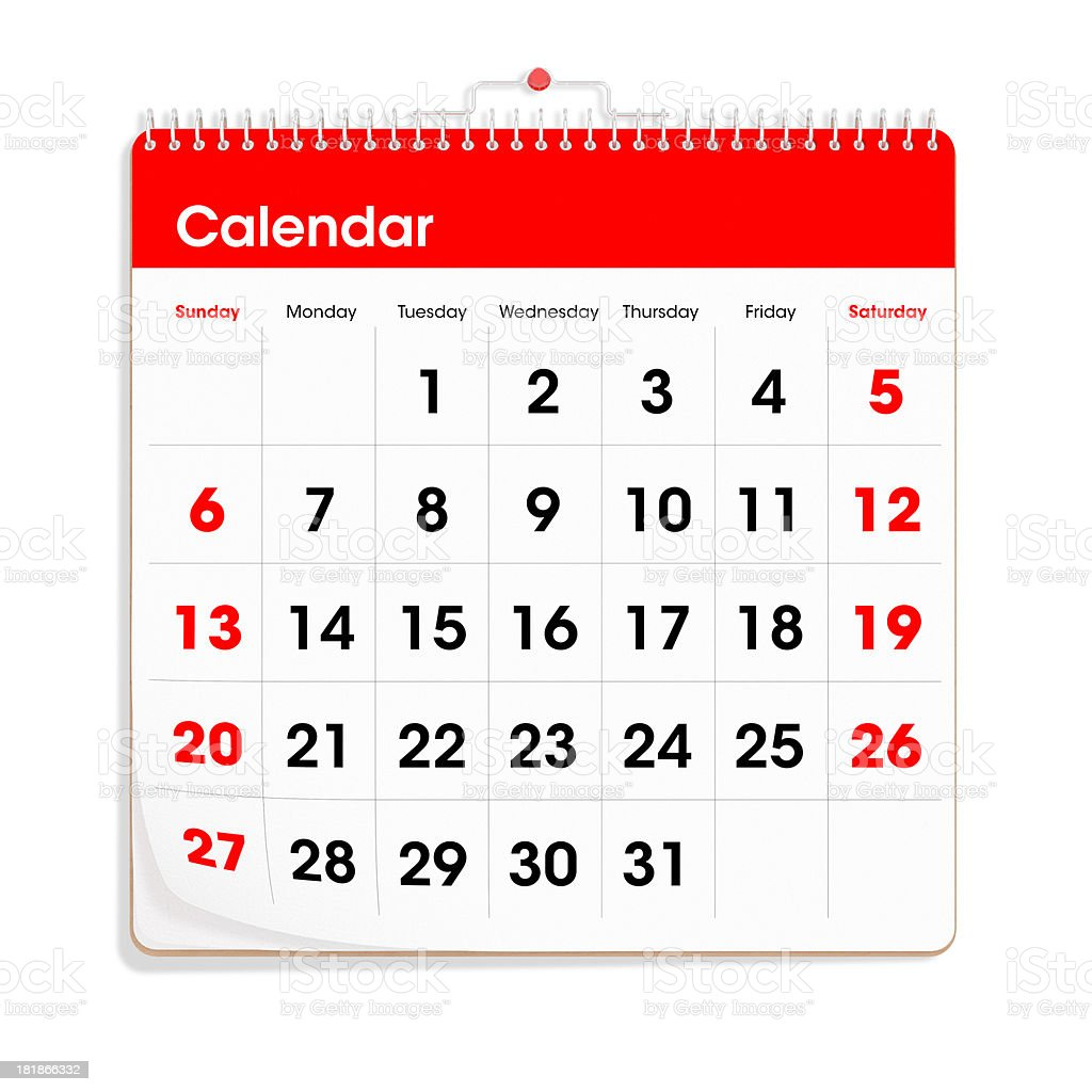 Red Wall Calendar stock photo