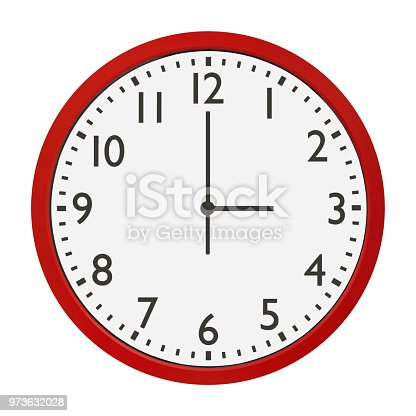 image of red wall clock isolated on white background