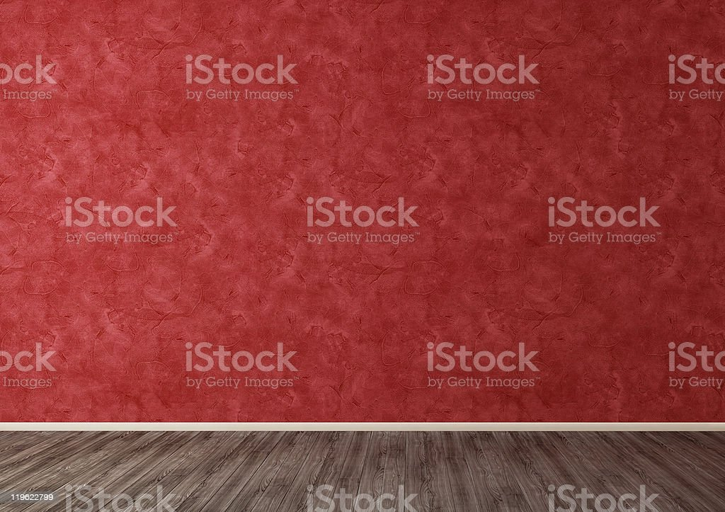 Red Wall in Empty Room stock photo