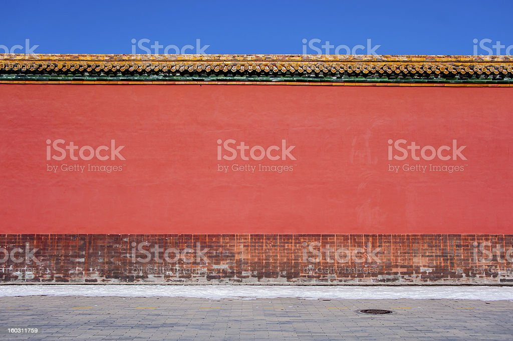 red wall in the forbidden city royalty-free stock photo