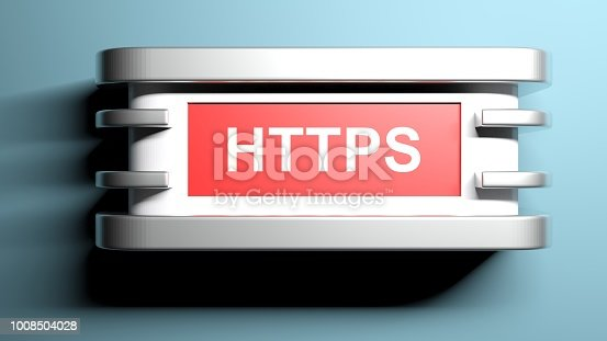 istock HTTPS red wall lamp - 3D rendering 1008504028