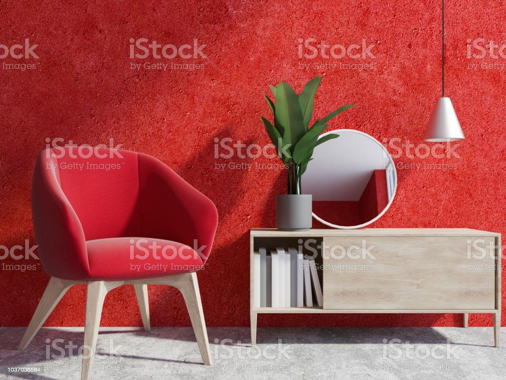 Rote Wand Wohnzimmer Interieur Sessel Stockfoto und mehr ...