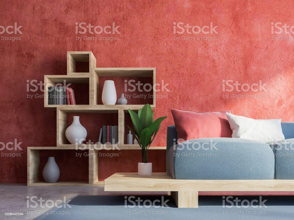 Rote Wand Wohnzimmer Interieur Grau Sofa Stockfoto und mehr ...