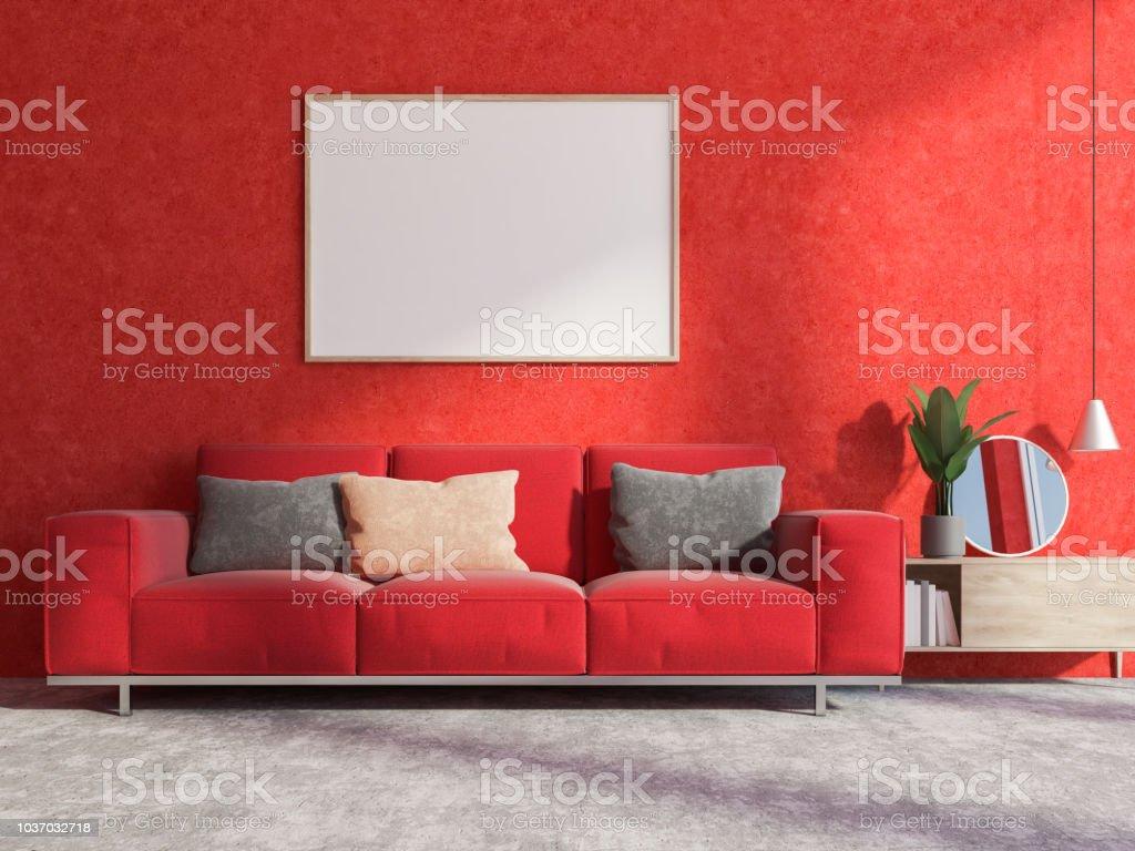 Rote Wand Wohnzimmer Interieur Sofa Und Poster Stockfoto und ...
