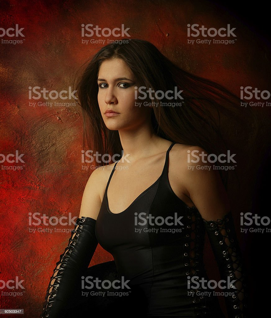 Red wall Portrait royalty-free stock photo