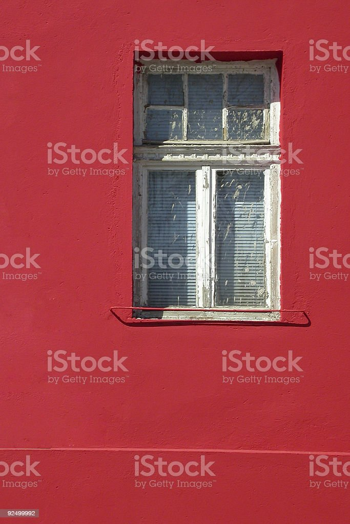 Red wall Window royalty-free stock photo