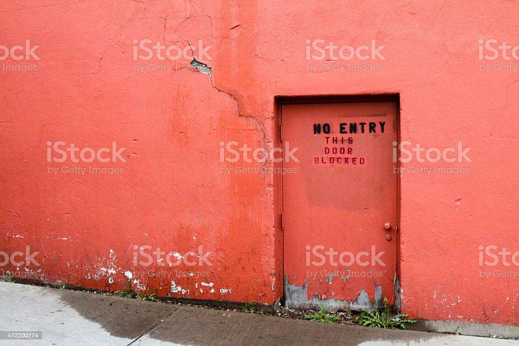 Red wall with tiny door u0027No Entry This Door Blockedu0027 royalty-free stock & Red Wall With Tiny Door No Entry This Door Blocked stock photo ... pezcame.com