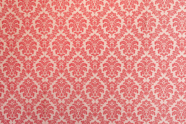 Red wallpaper vintage flock with red damask design on a white background retro vintage style Red wallpaper vintage flock with red damask design on a white background retro vintage style royalty stock pictures, royalty-free photos & images