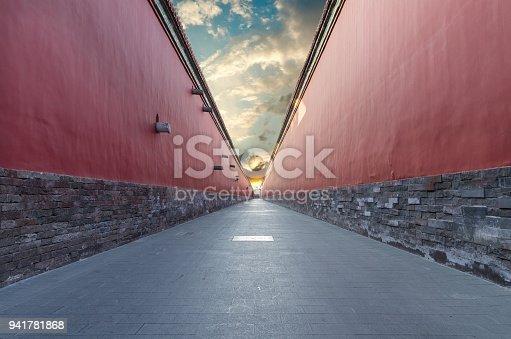 red walls passage in Forbidden city, Beijing