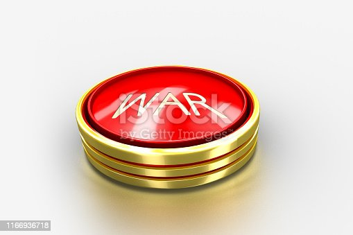 istock Red war round button with gold border. USA lunch ICBM missile for nuclear bomb test 3d illustration concept. DPRK vs USA crisis trump. 1166936718