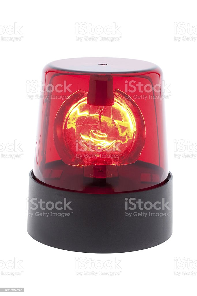 red warning light isolated stock photo
