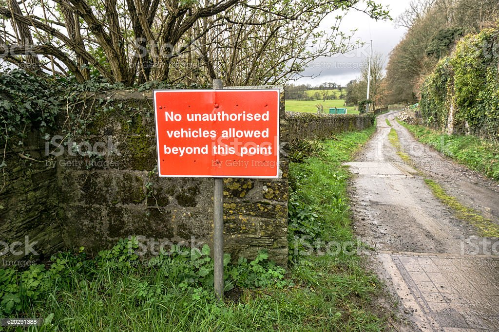 Red warning sign prohibiting access to vehicles stock photo