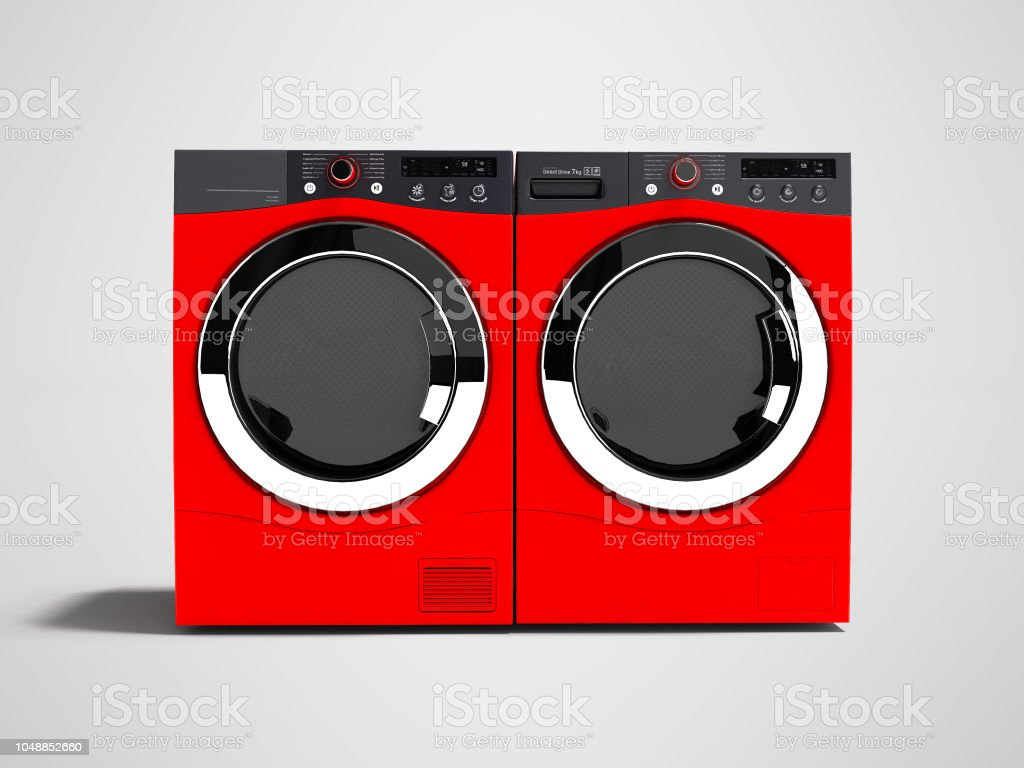 Red washing machine and drying laundry for home use 3d render on gray background with shadow stock photo