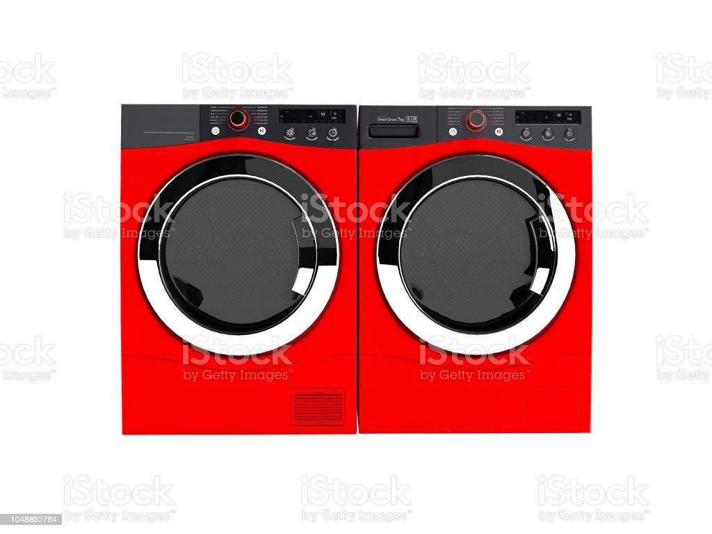 Red washing machine and drying laundry for home use 3d render on white background no shadow stock photo
