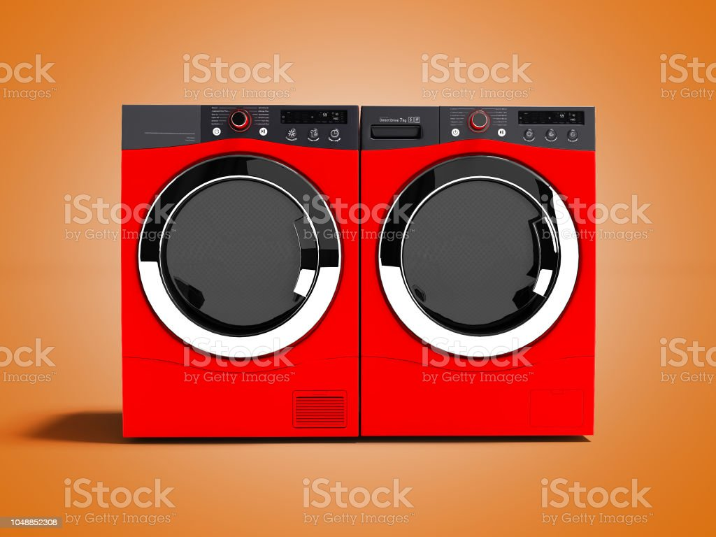 Red washing machine and drying laundry for home use 3d render on orange background with shadow stock photo