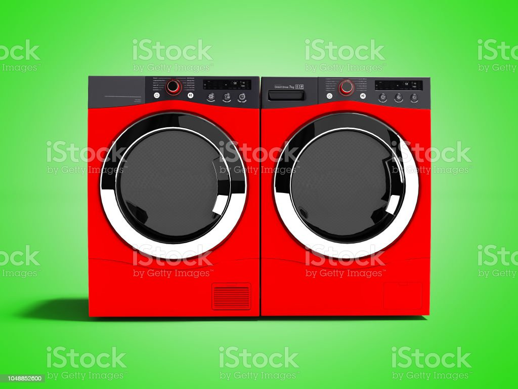Red washing machine and drying laundry for home use 3d render on green background with shadow stock photo