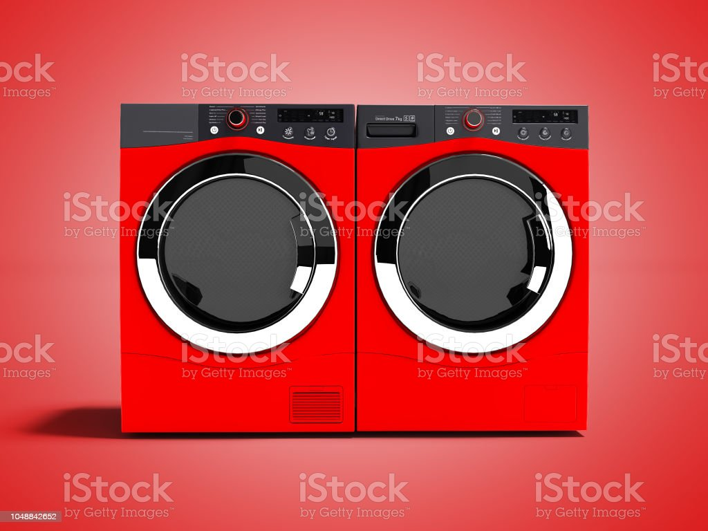 Red washing machine and drying laundry for home use 3d render on red background with shadow stock photo
