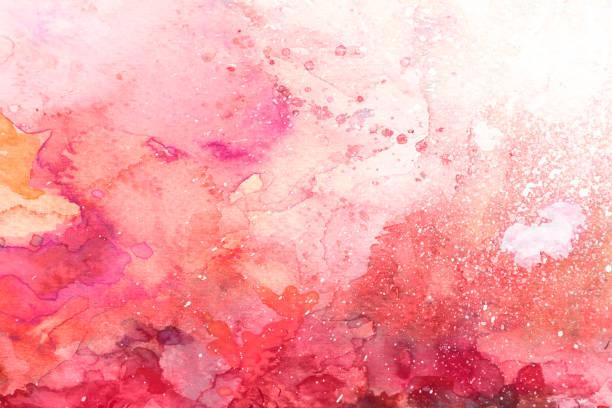fond aquarelle rouge avec des touches - aquarelle sur papier photos et images de collection