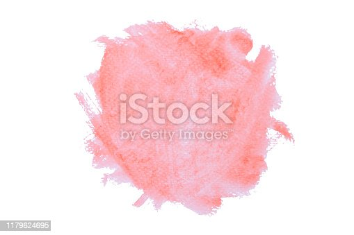 944453740 istock photo Red watercolor hand drawn texture with brush strokes isolated on white background with clipping path. 1179624695