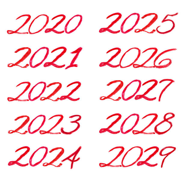 Red watercolor lettering from 2020 to 2029 decade Red watercolor lettering from 2020 to 2029 decade. All numbers isolated on a white background, handwritten, decorative font 2020 2029 stock pictures, royalty-free photos & images