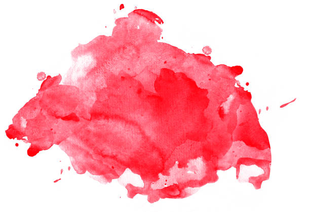Red watercolor spot with splashes stock photo