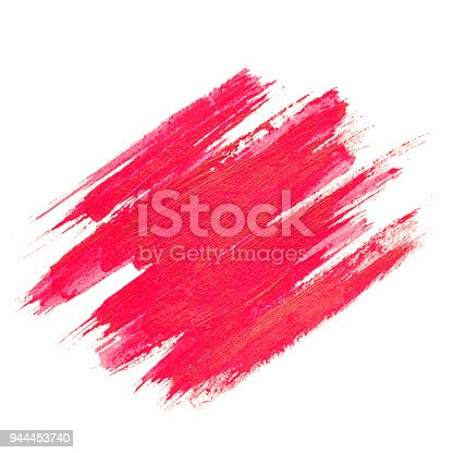 istock Red watercolor texture paint stain brush stroke isolated on white background 944453740